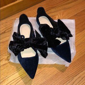 New Zara Navy Velvet Ballerina Flats with Bow, 38